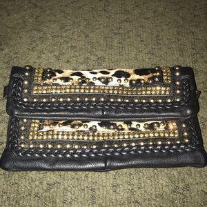 Leopard rhinestone black leather clutch